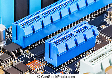 PCI Express slots on computer motherboard - Macro view of...