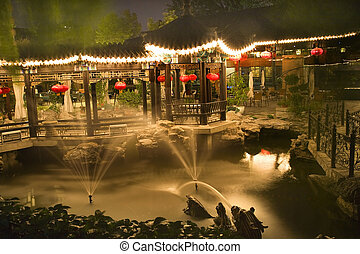Red Lanterns Fountains Temple of the Sun  Beijing China Night