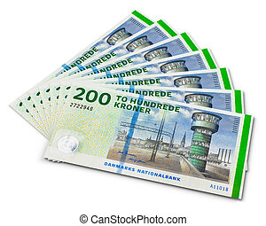Stack of 200 danish krone banknotes isolated on white...