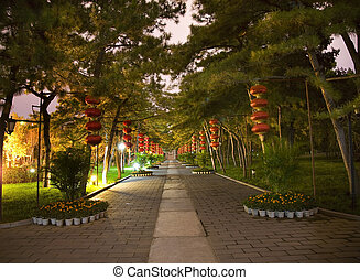 Red Lanterns Temple of the Sun Park Beijing China Night