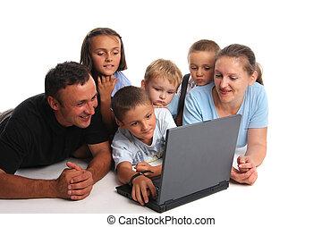 groß,  laptop, familie, glücklich