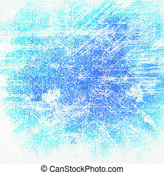Abstract blue background or paper with bright spotlights and dark border frame with grunge background texture. For vintage layout design of light colorful graphic art