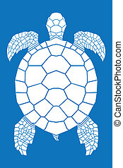 Sea turtle on blue background, illustration.