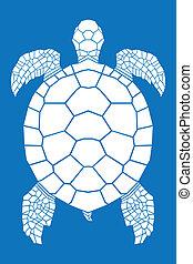Sea turtle on blue background, illustration.