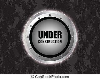 under construction background with metallic design
