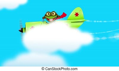 Frog on a green plane - merry green frog pilot in the plane