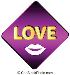 Love icon with lips on a white background