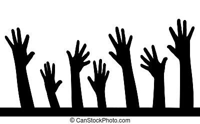 hands in line vector,