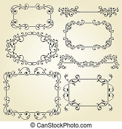 vector lacy vintage floral design elements on gradient...