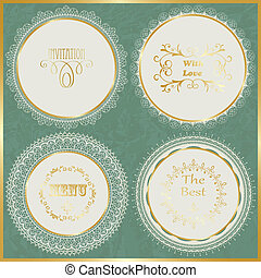 Vector Lacy Napkins - vector lacy napkins with golden frame...