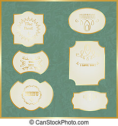 Vector Vintage Labels with Golden Borders and Text on Crumpled Paper, fully editable eps 10 file