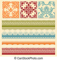 Vector Seamless Floral Patterns and Lacy Ribbons - Vector...