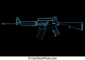Gun 3D xray blue transparent