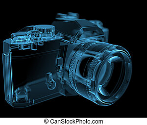 DSLR SLR camera 3D xray blue transparent