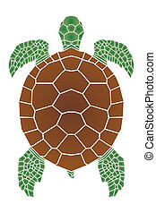 Sea turtle on blue background, illustration