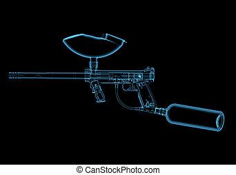 Paintball gun (3D xray blue transparent)