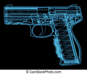 Pistol 3D xray blue transparent