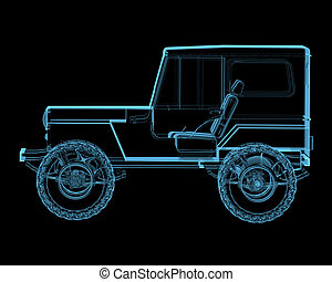 Offroad 4x4 suv 3D x-ray blue transparent isolated on black...