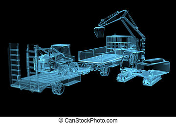 Heavy construction machinery 3D x-ray blue transparent...