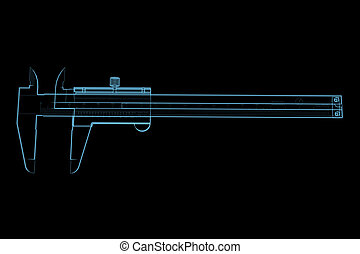 Vernier caliper 3D x-ray blue transparent isolated on black...