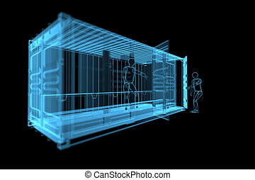 shipping container with human siluets 3D x-ray blue...