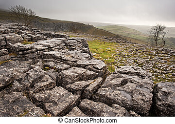 Malham Dale from limestone pavement above Malham Cove in Yorkshire Dales National Park