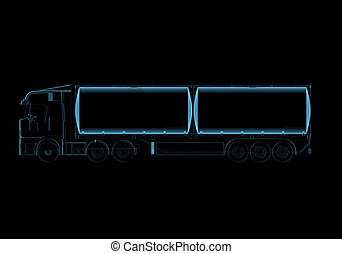 Tanker truck 3D x-ray blue transparent isolated on black