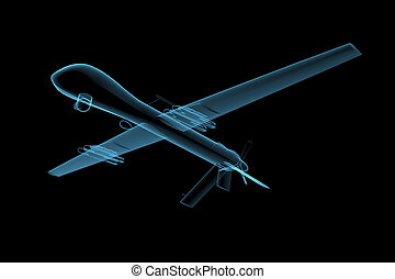 UAV predator drone 3D x-ray blue transparent isolated on...