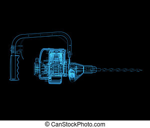 Heavy duty drill (3D xray blue transparent)