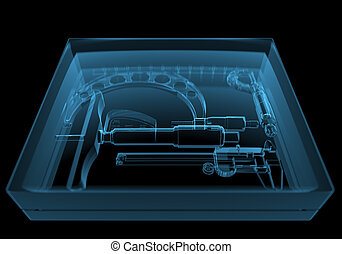 Box with instruments 3D xray blue transparent