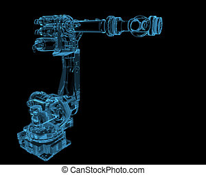 Industrial robot 3D xray blue transparent