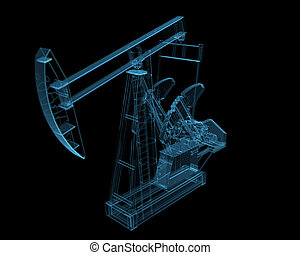 Oil pump 3D xray blue transparent