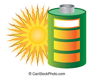 sun and battery, green energy
