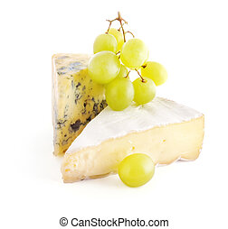 Blue cheese and camembert with grapes on white background
