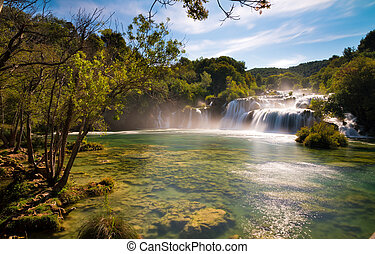 Waterfalls Krka national park - Beautiful view on the...