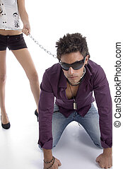 bending man with chain and sunglasses on an isolated white...