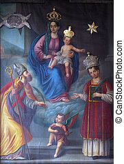 Virgin Mary with baby Jesus and saints