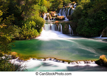 Krka falls - Beautiful scenic view of waterfalls coming out...