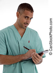 doctor writing on notepad