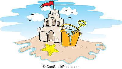 sand castle - vector illustration of a sand castle on a...