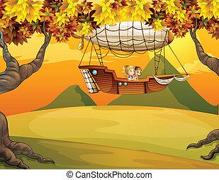An airship passing at the hills - Illustration of an airship...