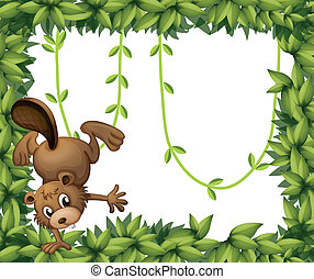 A beaver and the green leafy border