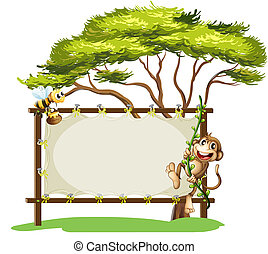 A monkey and the bee beside the empty signage - Illustration...