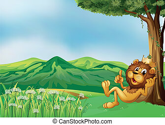 A lion king relaxing at the hilltop - Illustration of a lion...