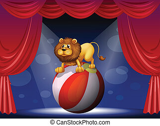 A lion performing at the circus - Illustration of a lion...