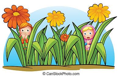 Two little girls hiding - Illustration of two little girls...