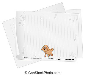 A blank paper with a dog - Illustration of a blank paper...