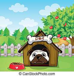 A dog inside a dog house - Illustration of a dog inside a...