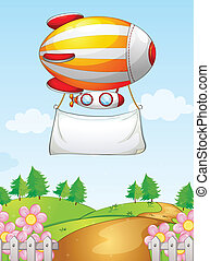 A blimp with a banner - Illustration of a blimp with a...