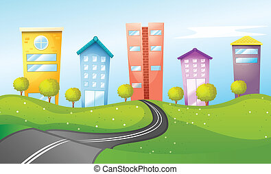 High buildings in the city - Illustration of the high...